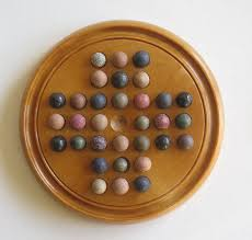 Wooden Board Game With Marbles 100th Century Marble Solitaire Board Game with 100 Handmade Marbles 13