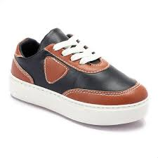 andora lace up leather sneakers for boys black and camel souq egypt