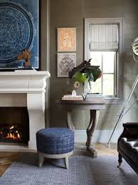 wallpapered office home design. masculine office with grass cloth wallpapered walls and stone fireplace to make this space feel more home design