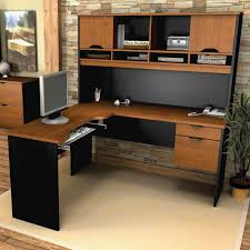 Large Surface L Shaped Desk With Hutch In Black And Brown Color Plus  Computer On Wooden
