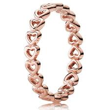 pandora rose linked love heart band ring 180177