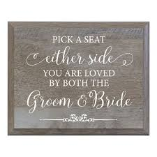 Lifesong Milestones Pick A Seat Decorative Wedding Party Signs For Ceremony And Reception For Bride And Groom 8x10