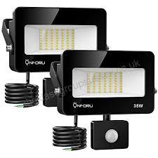 onforu 2 pack 35w led flood lights with motion sensor 3000lm ip66 waterproof outdoor security lights