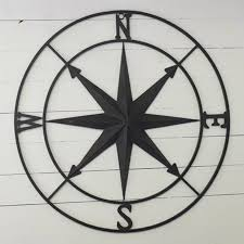 large black compass rose wall decor