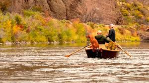 silly sunday scenery wooden boat dog fishing fall colors