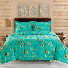 Camouflage Bedspread Realtree Teal Blue Camo Comforter Set - LA Beds
