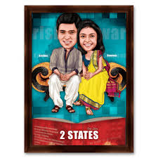 2 states caricature gift for couple