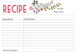 Recipe Cards Print Free Printable Recipe Cards