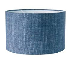 Fermoie 14 Inch Laminated Lacock Drum Lampshade Hugh Blue Linen