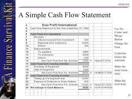 Simple Cash Flows Simple Cash Flow Statement Template