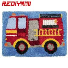 new 3d latch hook rug kits fire truck diy needlework unfinished crocheting rug yarn cushion mat