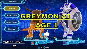 Digimon World 1 Digivolve Chart Digimon World Next Order Digivolve To Greymon At Age 1