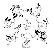 Pokemon Coloring Pages Eevee Evolutions All
