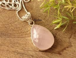 rose quartz gemstone sterling silver pendant handmade