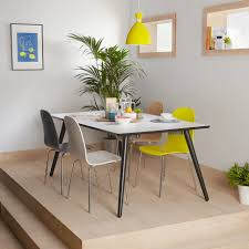 dining tables extraordinary extending table extendable round rectangle wooden with white finished and black the legs four colorful chairs yellow lamp