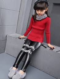 korean style girl leather pants thick kids