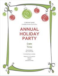 Party Borders For Invitations Holiday Party Invitation With Ornaments And Swirling Border