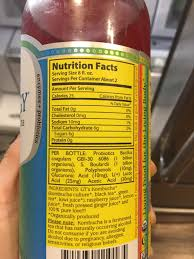 show an average of 6 grams of sugar per serving with 2 servings per bottle and b vitamins are no longer listed