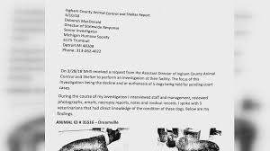 Image of: Anne Burns Ingham Co Animal Control Investigated For Neglect Of Dogs From Dogfighting Ring Wkar Ingham Co Animal Control Investigated For Neglect Of Dogs From