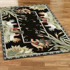 Decorative Chickens For Kitchen Rooster And Hens Round Rugs