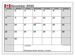 November 2020 Calendar Canada Michel Zbinden En