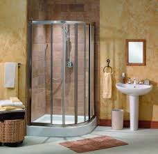 bathroom ideas corner shower design: bathroom top notch decorating design ideas brown tile bathroom wall including white ceramic pedestal bathroom