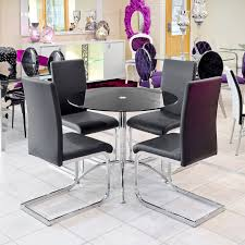 brescia black dining chair around the luna black glass dining table