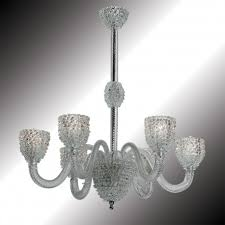 ghiaccio 6 lights transpa and white murano glass chandelier
