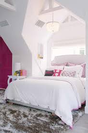 White and Pink Girl Bedroom with Hot Pink Door