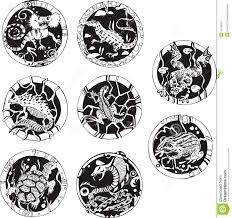 круглые татуировки с гадами иллюстрация вектора иллюстрации