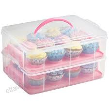 36 Cupcake Carrier New VonShef Snap And Stack Pink 60 Tier Cupcake Holder Cake Carrier
