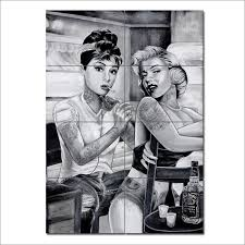 on marilyn monroe tattoo wall art with audrey hepburn and marilyn monroe tattoo giant poster