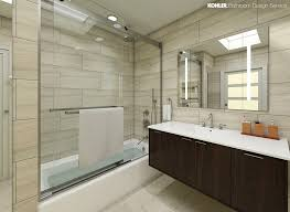 bathroom designs pictures. Staying Neutral: A Floating Vanity And Natural Stone Textures Make This Family Bathroom Mid-century Modern Oasis. Polished Chrome Fixtures Skylight Designs Pictures D