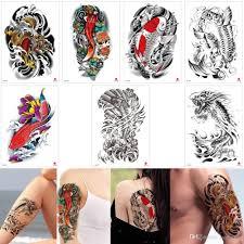 поддельные черная рыба временные татуировки наклейки золотой дракон цвета