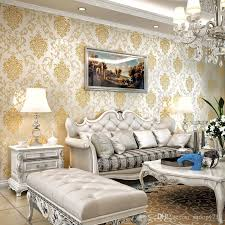 whole classic flocking embossed glitter luxury damask room wallpaper wall 3d damascus design wall paper rolls home decor beige gold the hd wallpaper the