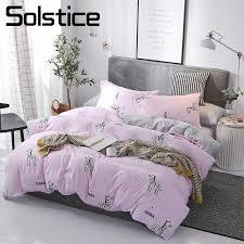solstice home textile bedding sets pink zebra solid gray duvet cover pillowcase flat sheet girl kid woman bed linen double queen bedding set king queen