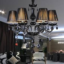 modern crystal chandelier black lampshades res lamparas de cristal tech suspension luminaire lighting fixture for restaurant in chandeliers from lights