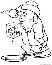 Small Picture Ice Fishing Coloring page Caught a frozen fish
