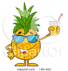 pineapple with sunglasses clipart. clipart of a male pineapple mascot character wearing sunglasses and holding juice - royalty free vector illustration by hit toon with c