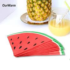 urWarm Hawaiian Supplies <b>20Pcs</b> Cute <b>Watermelon Paper</b> Napkin ...