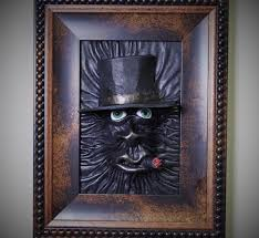 3d leather wall art decor horror leather face framed picture