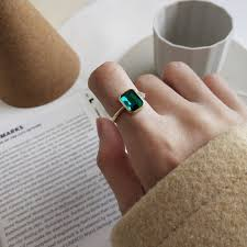 Silver Stone Ring Designs Us 4 68 25 Off S925 Sterling Silver Rectangular Ring Simple Fashion Design Green Stone Elegant For Woman Rings Charm Jewelry In Engagement Rings