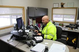 cramped office space. ramsey public works superintendent grant riemer inside his office in a trailer on the cramped space e