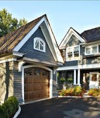B Blue House Exterior Colour Schemes R Like The Faux Wood Garage Door Against  Color Trim Paint Evening Dove