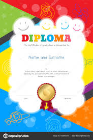Kids Certificate Border Kids Diploma Or Certificate Template With Colorful And Hand