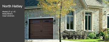 model standard north hatley lp 9 x 8 moka brown clear garage doors in bradford