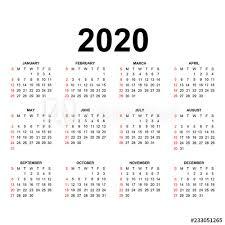 One Sheet Calendar 2020 Calendar 2020 Template Calendar Design In Black And White