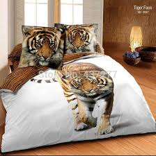 line Cheap 3d Oil Painting Cute Tiger White Cotton Bedding Set