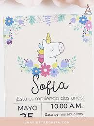 Invitaciones Fiesta Primer Añito Invitacion De Unicornio Cumpleaños Para Imprimir Una