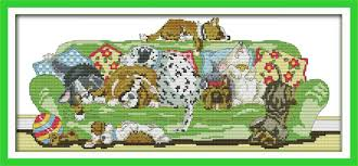 Cross Stitch Stocking Patterns Inspiration Joy Sunday Animal Style Sleeping Dogs Cross Stitch Christmas